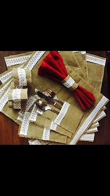 Burlap Placemats, Lace Serviette Table Napkin Ring , Cutlery Holders