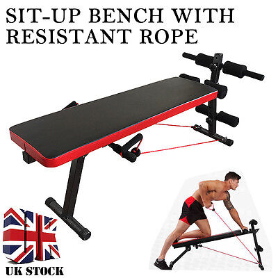 New AB Abdominal Sit Up Bench Workout Fitness Exercise Training Home Gym+Rope #1