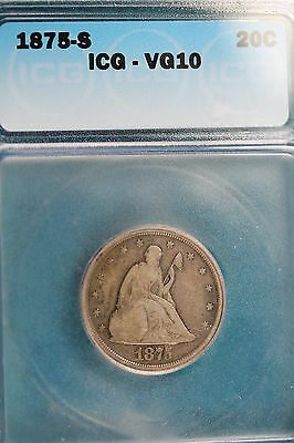 1875-S ICG VG10 Seated Twenty Cent!! #KZ1