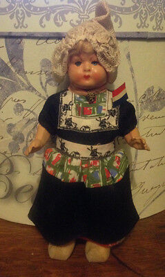 vintage celluloid composite Dutch doll wooden clogs Holland