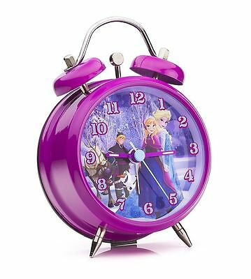NEW Joy Toy Frozen Children's Character Mini TwinBell Kids Alarm Clock - Purple