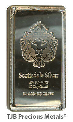 10oz Scottsdale Mint 'Stacker' bar, 999.0 Fine Silver