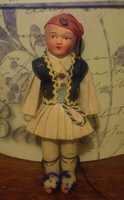 vintage celluloid Turkish Greek boy rag cloth doll crown pin