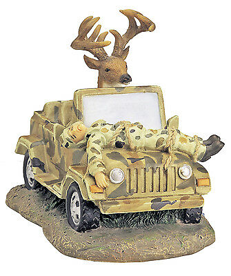 Deer Driving Jeep with Hunter on Top Hunting Season Art Tabletop Figurine
