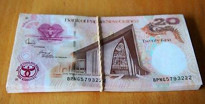 Papua New Guinea - 20 Kina Paper Bundle Of 100 Bank Notes - Uncirculated