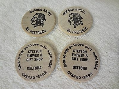 Vintage WOODEN NICKEL x 4 - ADVERTISING STETSON FLOWER & GIFT   DELTONA FLORIDA