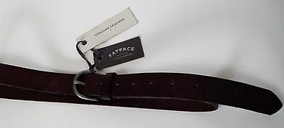 New Fat Face-Women's Embossed Flower Belt - Chocolate Brown UK Size Small