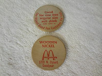 Vintage WOODEN NICKEL x2 - ADVERTISING: MCDONALDS in GOODYEAR ARIZONA