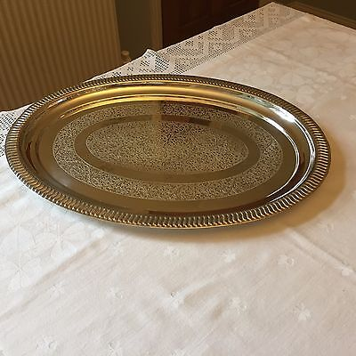 VINTAGE Oval Silver Plated TRAY Chased Serving Drinks 39X29cm