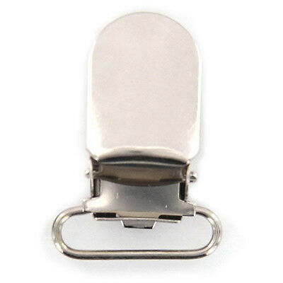 2x(20pcs 16mm Webbing Hook Pacifier Suspender Clips for Craft - Silver  CT
