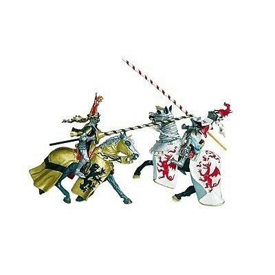 Plastoy-Cavalieri Cheval aux dragons blanc et rouge (no base) 62031 - NUOVO