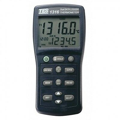TES TES-1316 Data Logger Thermometer with Thermocouple K, J, E, T, R, S & N Type