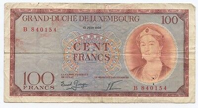Luxembourg 100 Franc note. 1956, Average condition
