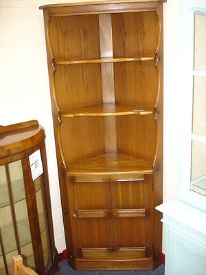 Ercol Old Colonial  Light Elm Corner Display Cabinet Cupboard  Shelves Bookcase