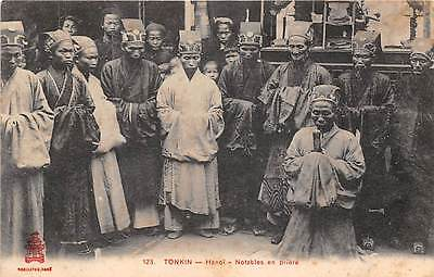 HANOI, VIETNAM ~ GROUP OF IMPORTANT PEOPLE AT PRAYER ~ c. 1904-14