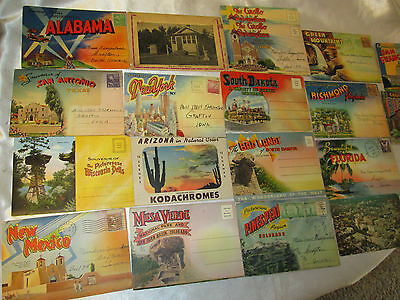 Vintage Post Cards Postmarks 1942-Foldout Style Cards Lot of 18
