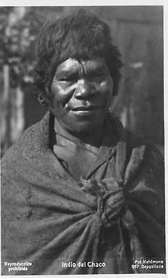 ARGENTINA ~ CHACO INDIAN MAN, POSED IMAGE, REAL PHOTO PC ~ c. 1910-20