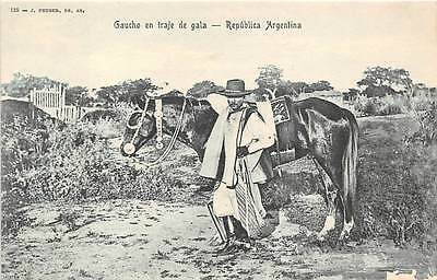 ARGENTINA ~ GAUCHO IN COMPLETE COSTUME POSING WITH HIS HORSE ~ c. 1904-14