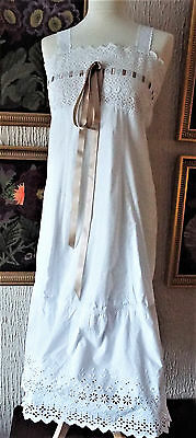 Antique Ladies Broderie Anglais Trimmed Dress/underskirt