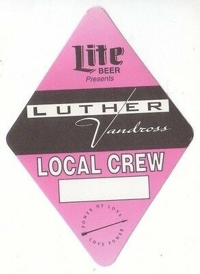 LUTHER VANDROSS PASS backstage tour satin cloth LOCAL CREW collectible PINK