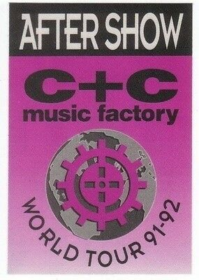 C + C MUSIC FACTORY PASS backstage tour satin cloth AFTER SHOW collectible