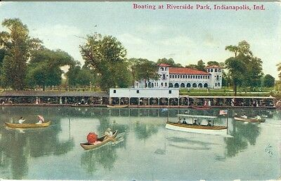 Indianapolis, IN Boating at Riverside Park 1910