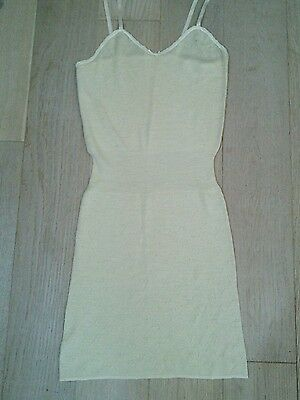 Vintage retro Chilprufe-style 100% wool pointelle lace vest camisole slip, NWT
