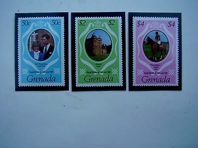 GRENADA 1981 ROYAL WEDDING Prince CHARLES to DIANA Issue 3 values to $4.00 MNH.