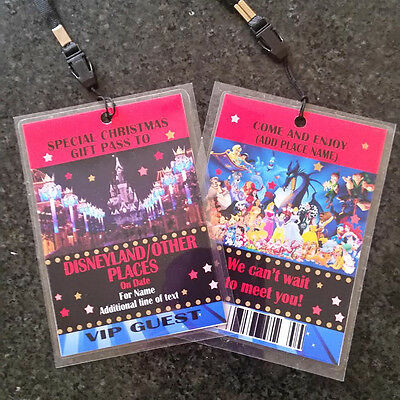 Personalised Disney Christmas Birthday VIP Gift Pass Lanyard - Any wording
