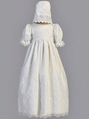Girls White Christening Gown Damask Embroidery Scallops & Lace Organza Sz 0-3M