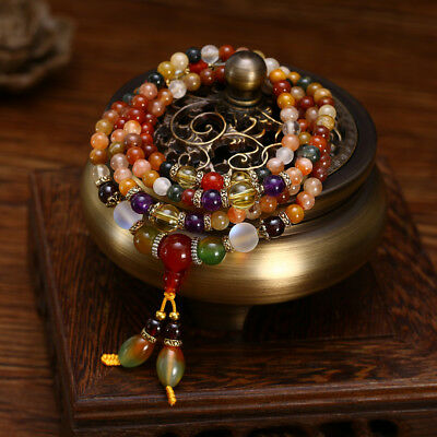 Natural Colorful Crystal Quartz Beads Buddhist Prayer Mala Bracelet Necklace 5mm