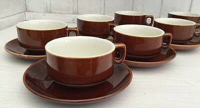 villeroy & boch luxembourg  x7 expresso cups and saucers brown