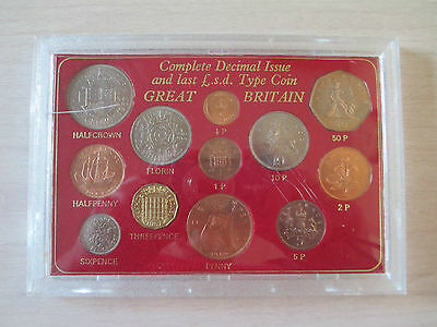 COMPLETE DECIMAL ISSUE AND LAST £.s.d. TYPE COIN GREAT BRITAIN IN CASE