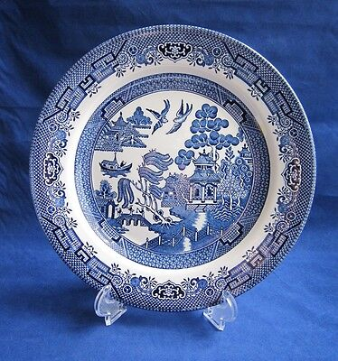 """Churchill Blue Willow Dinner Plate 10 1/4"""" Made in England Staffordshire ExcLkNw"""