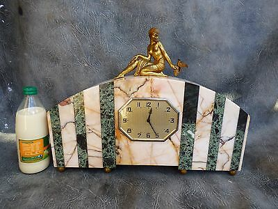 A Lovely Antique French Variegated Marbled Mantle Clock With Modern Movement