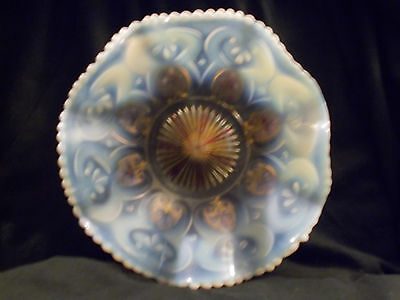 Vintage Blue, White and Gold Fluted Translucent Bowl