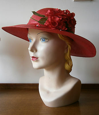VINTAGE 1930s STYLE RED WIDE BRIM STRAW HAT RED ROSES MILLINERY FLOWERS WEDDING
