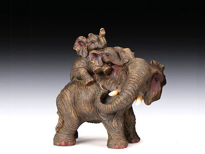 """New African Asian Mother Elephant With Two Babies On Her Back Statue Figure 5.5"""""""