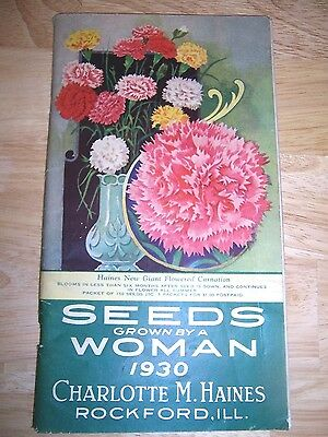 Rare 1930 Seeds Grown By Woman Charlotte Haines Color Catalog-Rockford,ill.