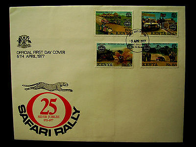 KENYA 1977 SAFARI RALLY of E.A. ILLUSTRATED OFFICIAL FDC Set 4 values to 5/-.