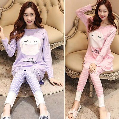 Newly Maternity Pajamas Set Cotton Blend Nursing Sleepwear Homewear Top + Pants