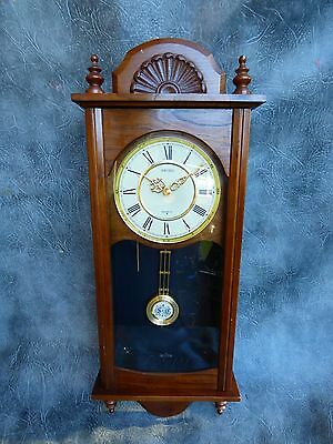 A Nice Mahogany Cased Seiko Chime Strike Wall Clock With Modern Movement