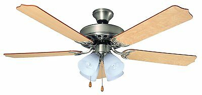 "Bala 103646 Nickel 52"" Ceiling Fan w/ 4 Light & Reversible Ash/Mahogany Blades"