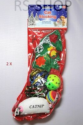 2 X Cat Kitten Toy Stocking Christmas Festive Treat Catnip Xmas Present Gift