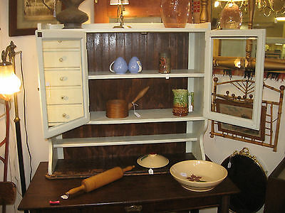 Antique 2 Pc Kitchen Country Cupboard Glass Doors Oak Table