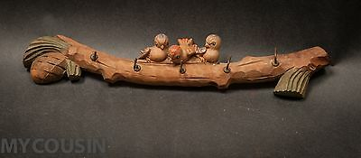Antique ANRI Italy Wooden Carved 3 Sparrow Birds on Pine Branch Key Rack, No Res