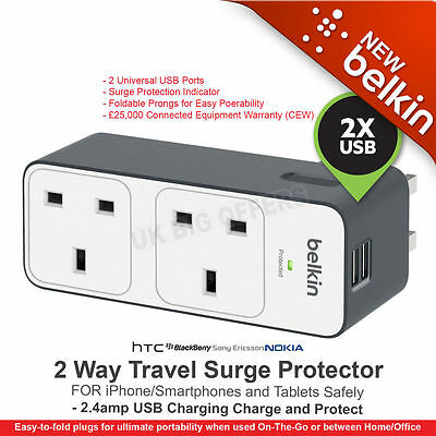 Belkin 2 Way Surge Protected Plug with 2 x 2.4 Amp USB Charge Ports