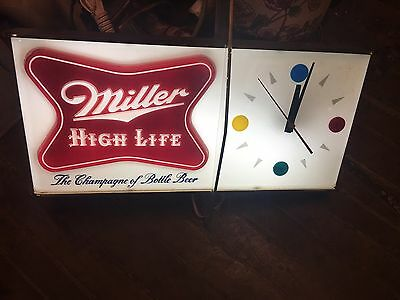 Vintage 1960's Miller High Life CIock In Original Box Never Used