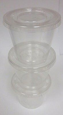 Crystalware Disposable Plastic Portion Cups with Lids, 100 Sets 5.5 oz. Clear