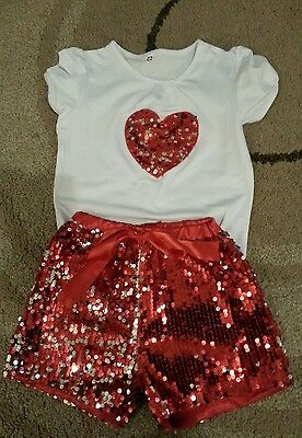 Sequinned top and shorts agef 6-7